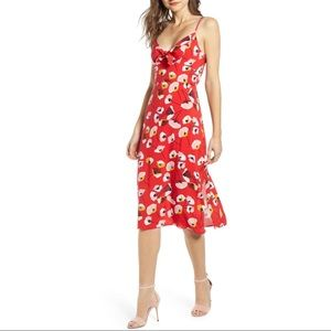 Rowa Floral Tie Front Midi Dress
